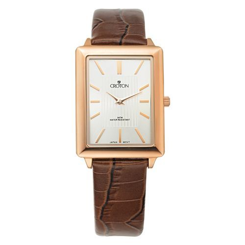 Croton Mens Stainless steel Rosetone Leather Strap Watch CN307503RGSL