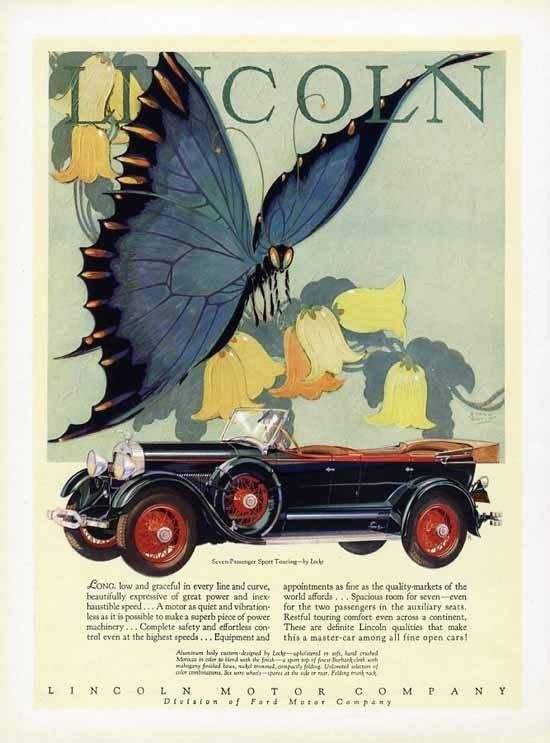 Lincoln Car Ad 1928 Butterfly Stark Davis Sport Touring 7