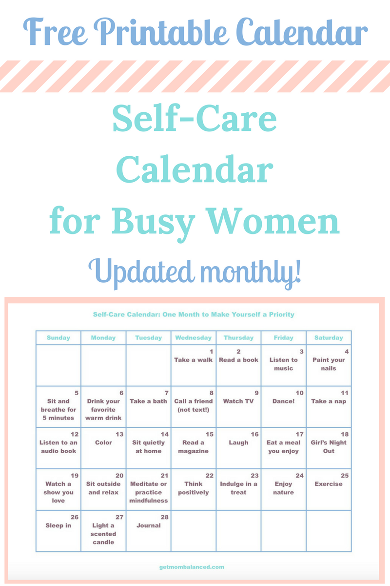 Self Care Calendar For Busy Moms And Women Care Calendar Self Care Activities Self Care Routine