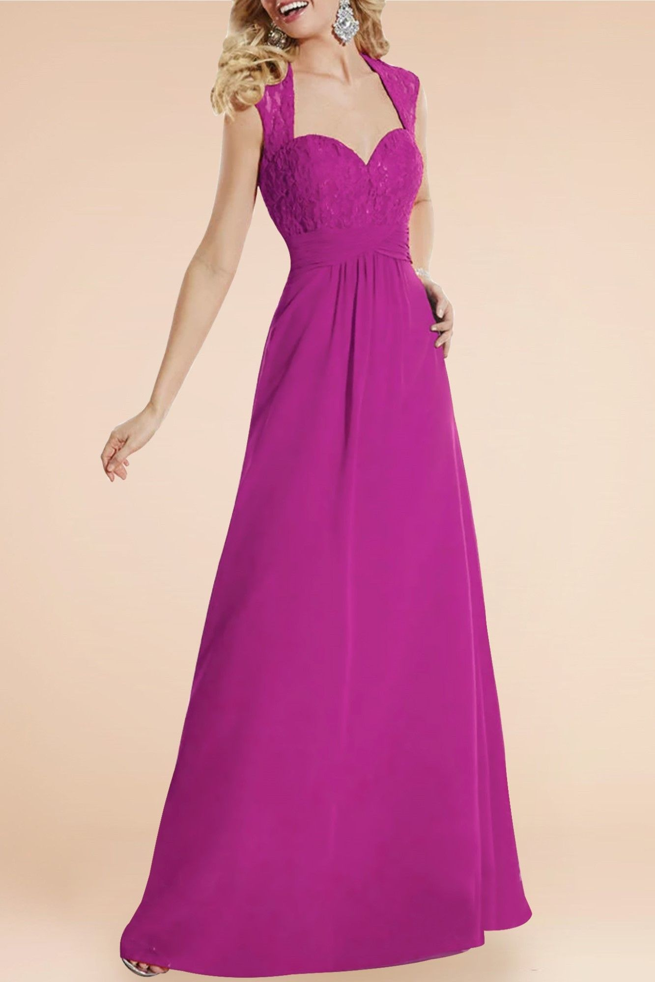 Fuchsia Lace Straps Cap Sleeves Open Back Floor-Length Solid