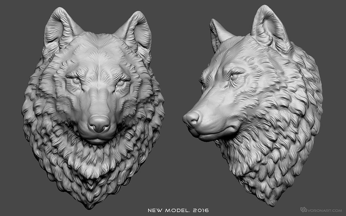 New Wolf Head 3d model. Digital sculpture for CNC, 3d
