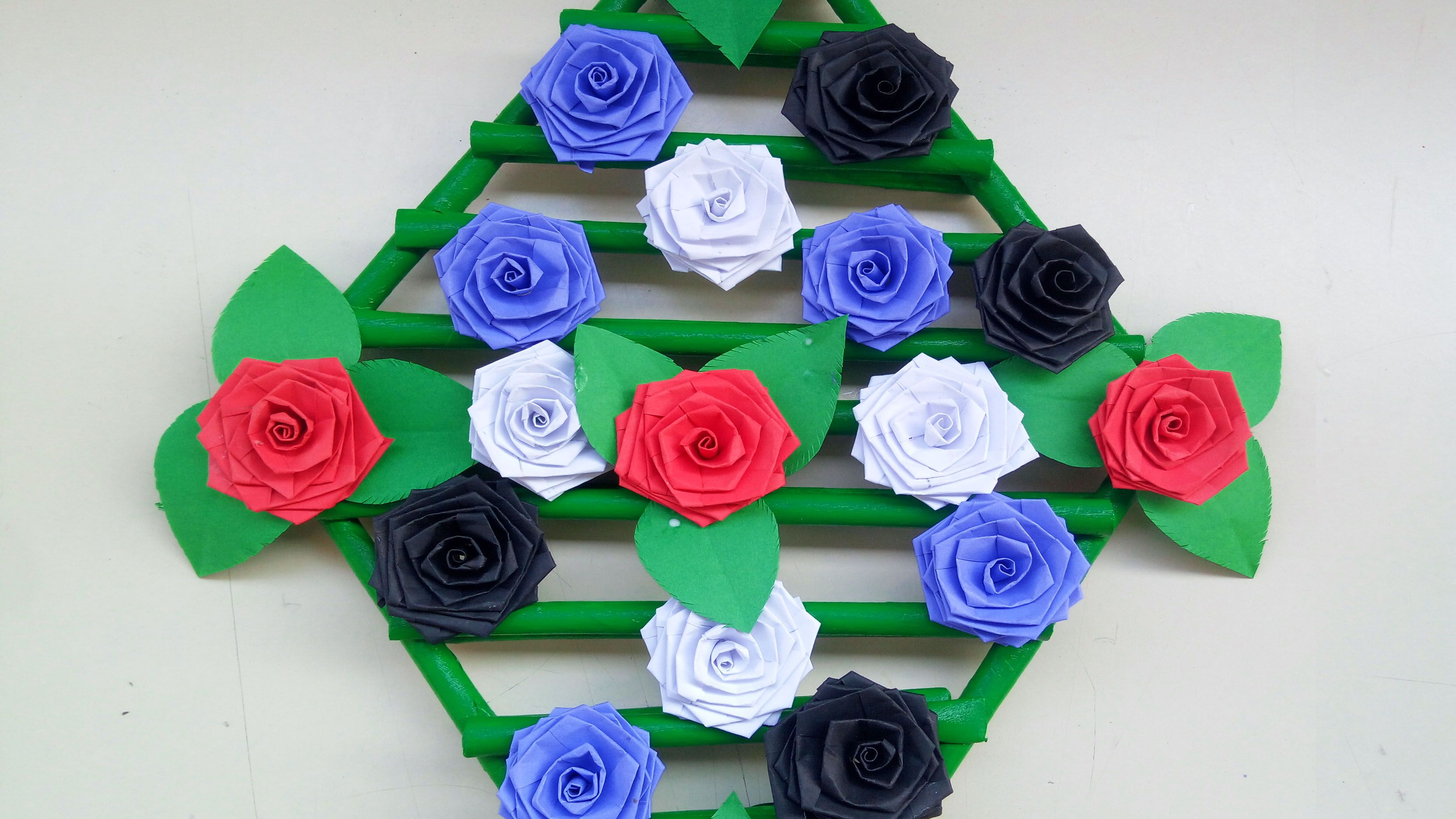 Paper Art  How To Make Paper Rose Flower Wall hanging  Paper