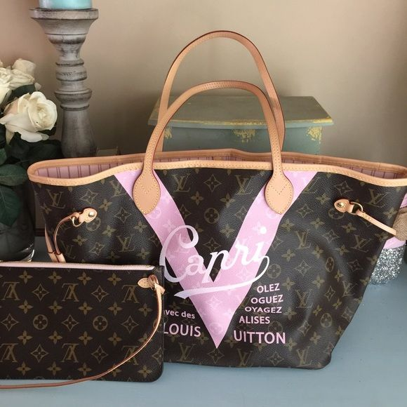 18b575c08479 Louis Vuitton Capri Neverfull mm ballerine pink Beautiful Louis Vuitton  Capri neverfull resort LE collection with