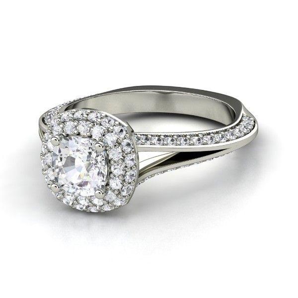 Cushion White Sapphire 14K White Gold Ring with White Sapphire
