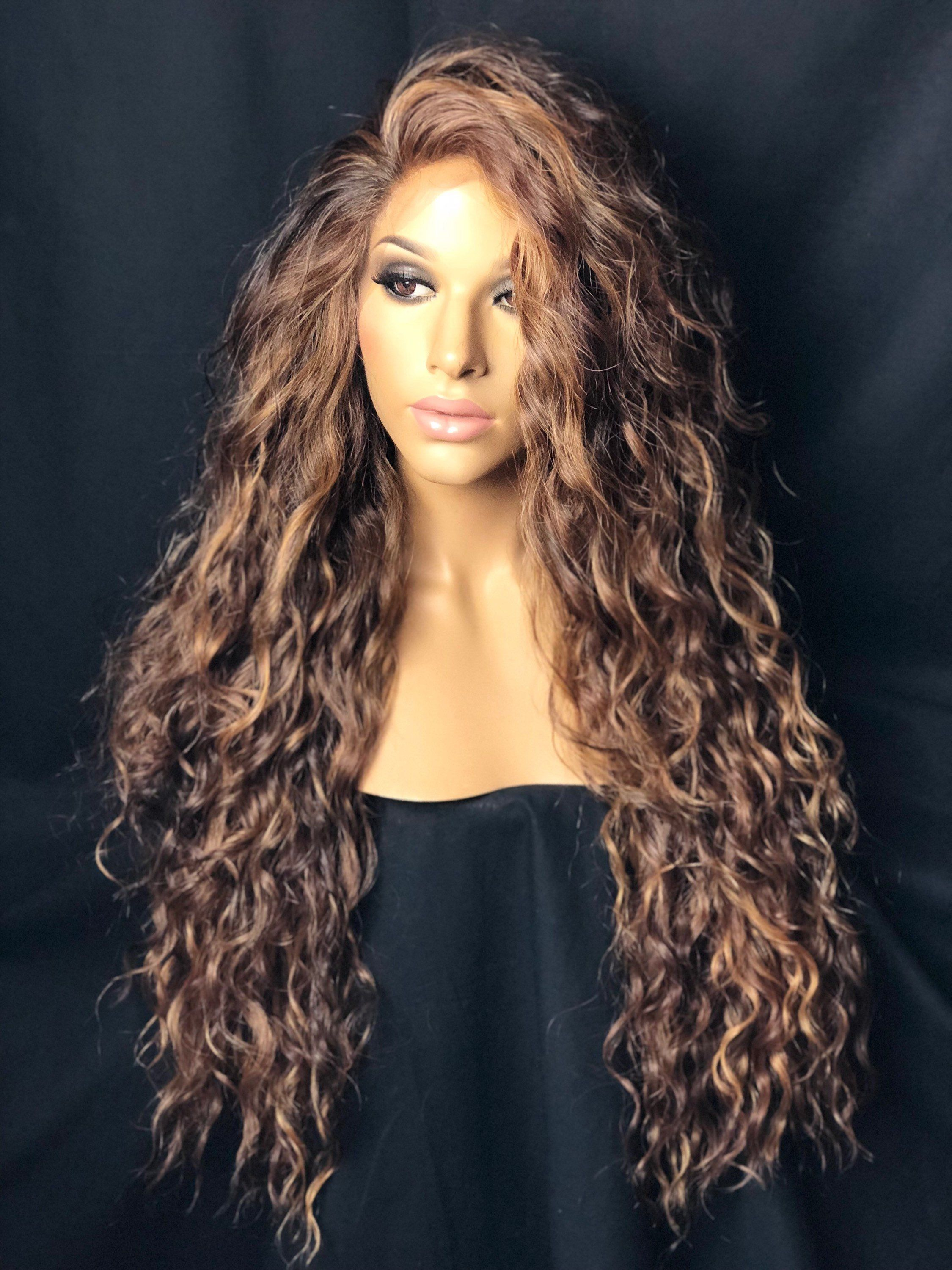 Auburn Brown & Honey Lace Front Wig | Wig in 2019 | Curly ...