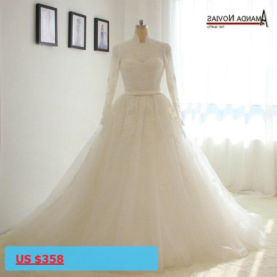Vintage high neck long sleeves hijab muslim wedding dresses with