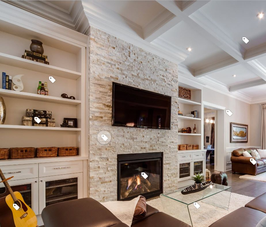 Stone Fireplace With Built In Cabinets: Stacked Stone Fireplace Wall