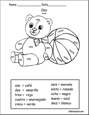 Spanish Colorea por Numero Oso Color by Number Bear