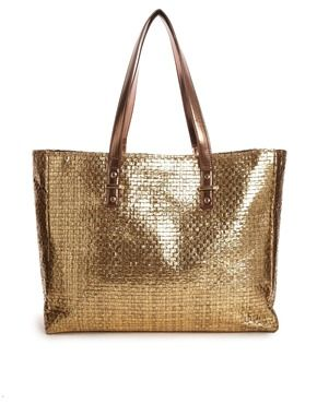 New Look Metallic Gold Beach Bag | Shoes & clothes | Pinterest ...