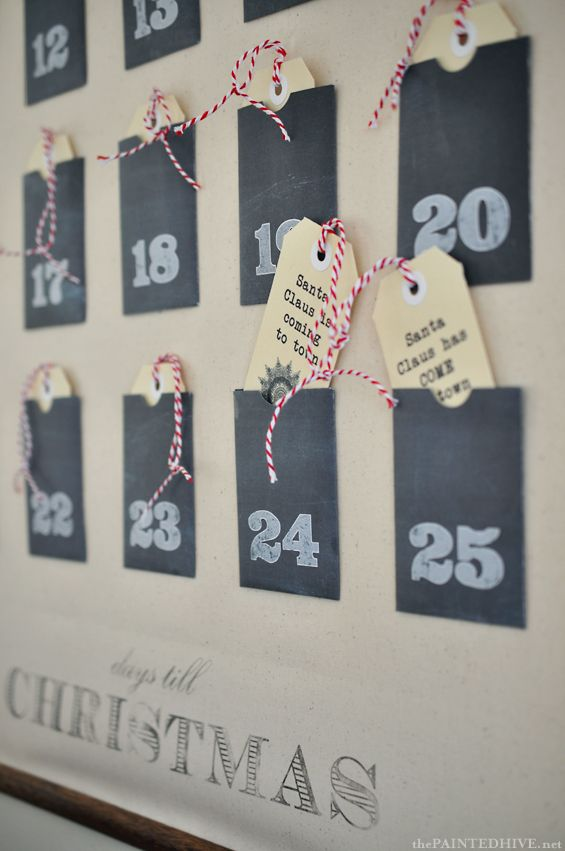 Christmas Advent Calendar Wall Chart With Free Printable Pockets Tags The Painted Hive