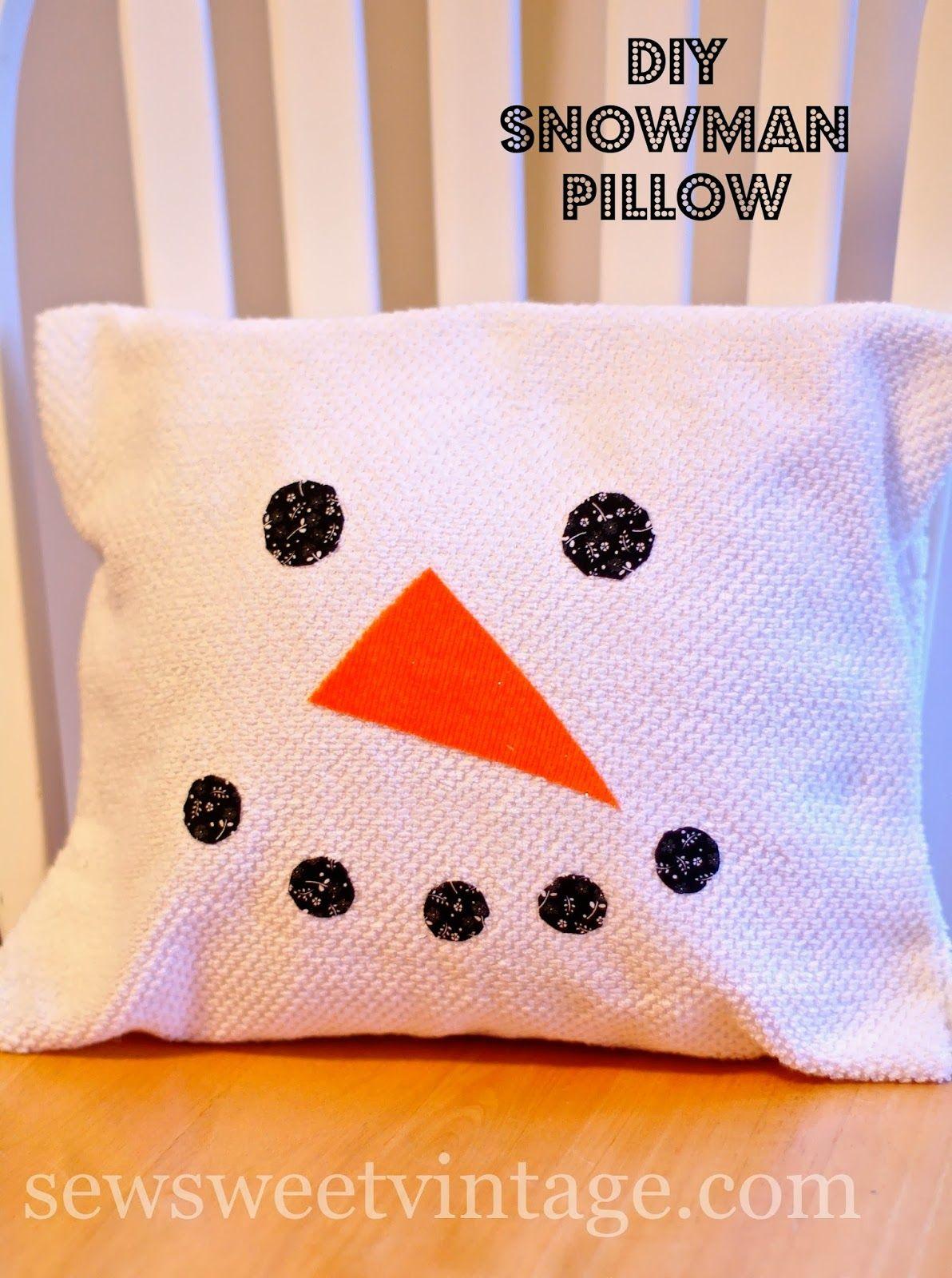 Sew sweet vintage diy dish towel pillow cover snowmen pinterest