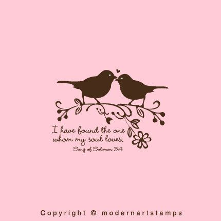 Love Birds Stamp In Wedding I Have Found The One Whom My Soul Loves Verses About A87 Large