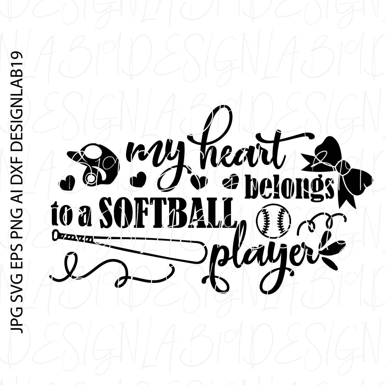 My heart belongs to a softball player game coach team