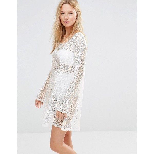 Anmol Crochet Mini Dress With Metallic Print 41 Liked On Polyvore Featuring Dresses White Beach White Crochet Dress White Short Dress Crochet Mini Dress