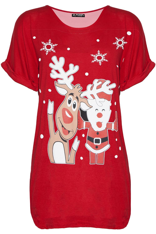 Womens Ladies Baggy Oversized Ho Ho Ho Pudding Xmas Christmas Mini T Shirt Dress