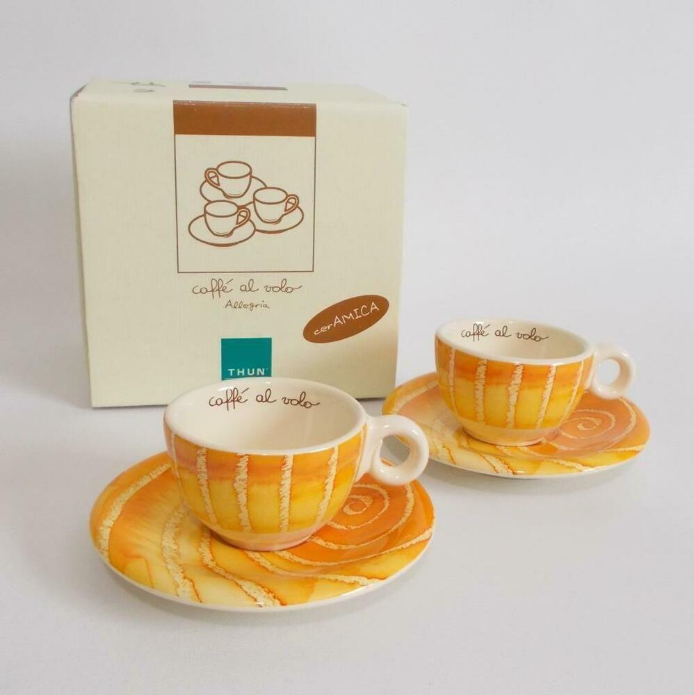 Thun Caffe Al Volo Espresso Set 2 Cups Saucers Allegria