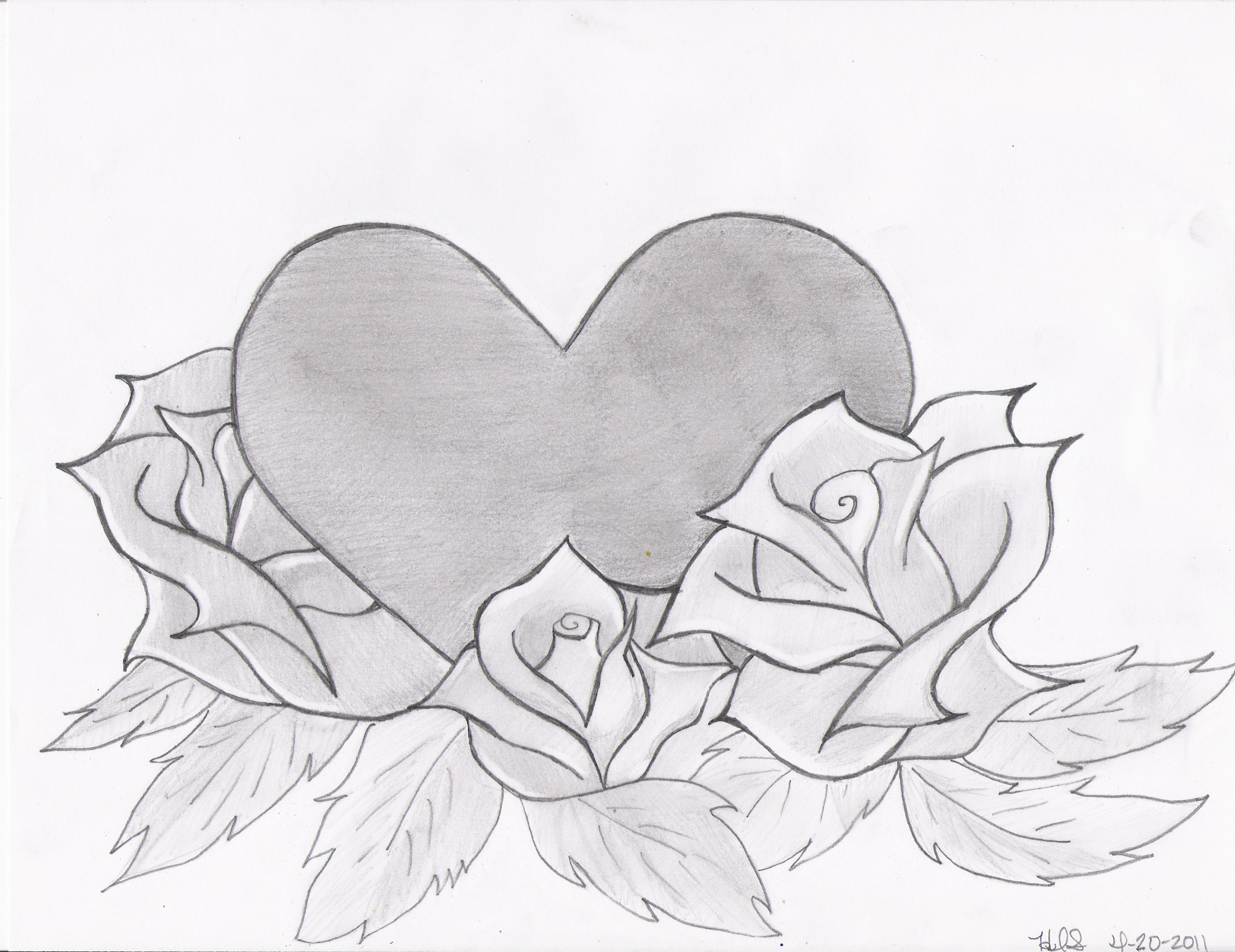 Drawings Of Roses And Hearts Heart And Roses Drawing