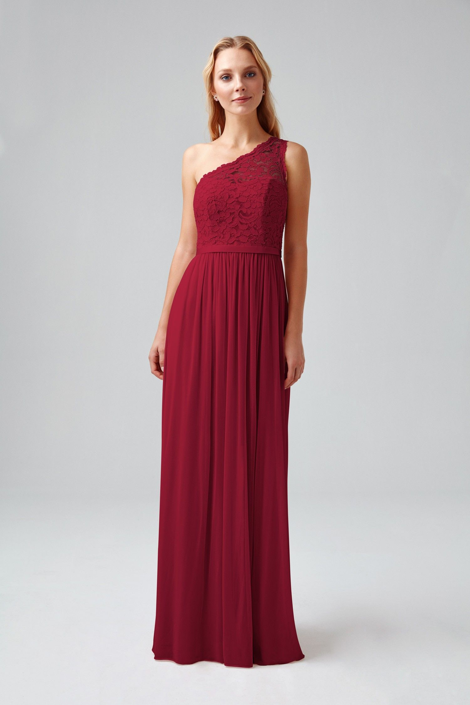 Long One Shoulder Lace Bridesmaid Dress Style No F17063