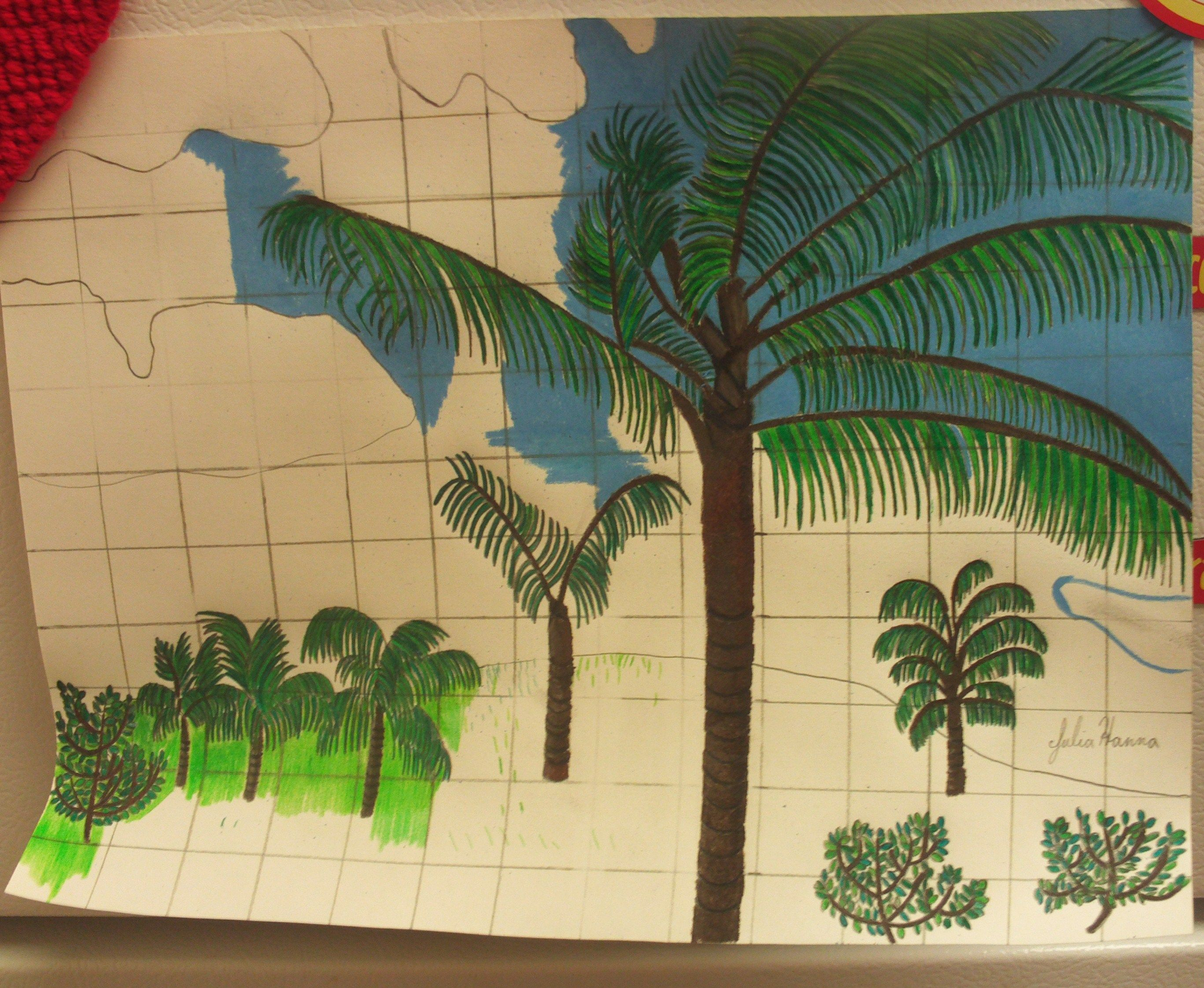 How To Draw A Hawaiian Palm Tree Scene On Graph Paper | Graph paper ...