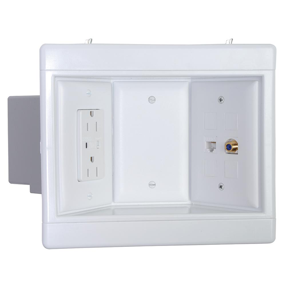 Legrand Pass Seymour 3 Gang Recessed Tv Media Box Kit With Surge Suppressing Outlet And Low Voltage Inserts White Tv3wtvssw The Home Depot Recessed Outlets Recess Tv Media