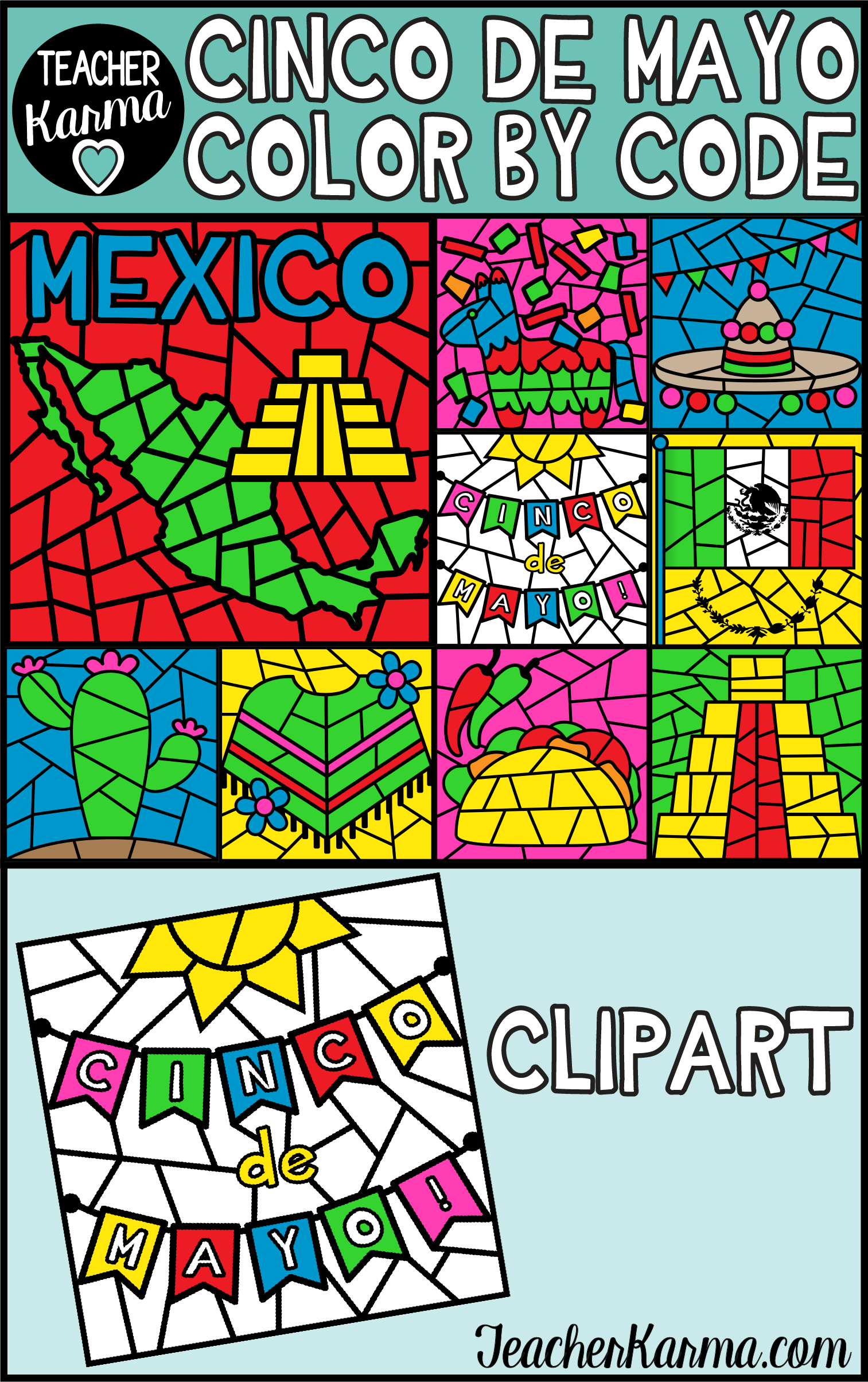 Cinco De Mayo Color By Code Clipart With Images