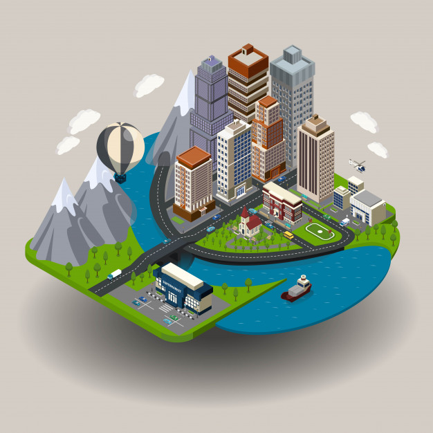 Download Isometric City Concept For Free Isometric City Icon Isometric Illustration