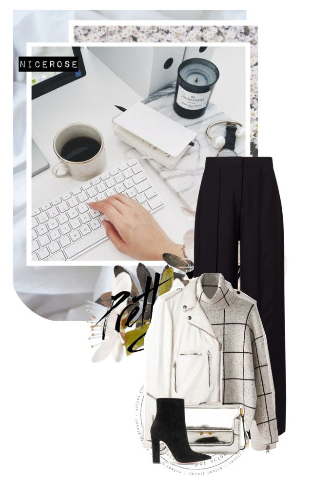 """""""Busy Monday"""" by nicerose ❤ liked on Polyvore featuring Miss Selfridge, R13, Marni, Gianvito Rossi, white, black and Work"""