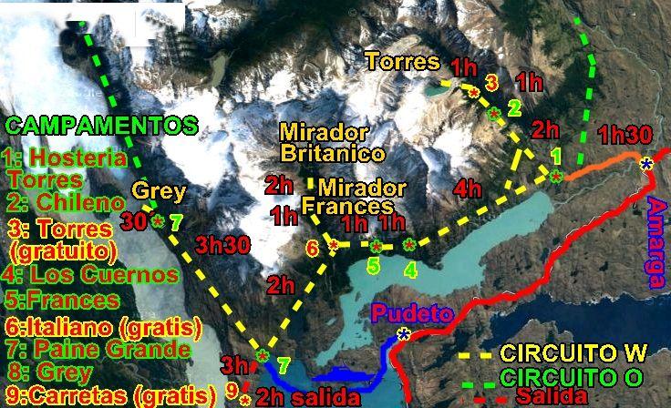 Circuito W Torres Del Paine Mapa : Paquete turístico torres del paine circuito w