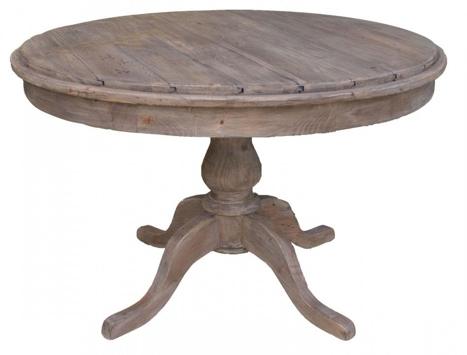 Artistic Rustic Dining Room Decoration Using Round Pedestal Reclaimed Wood Table And Wooden Claw Legs