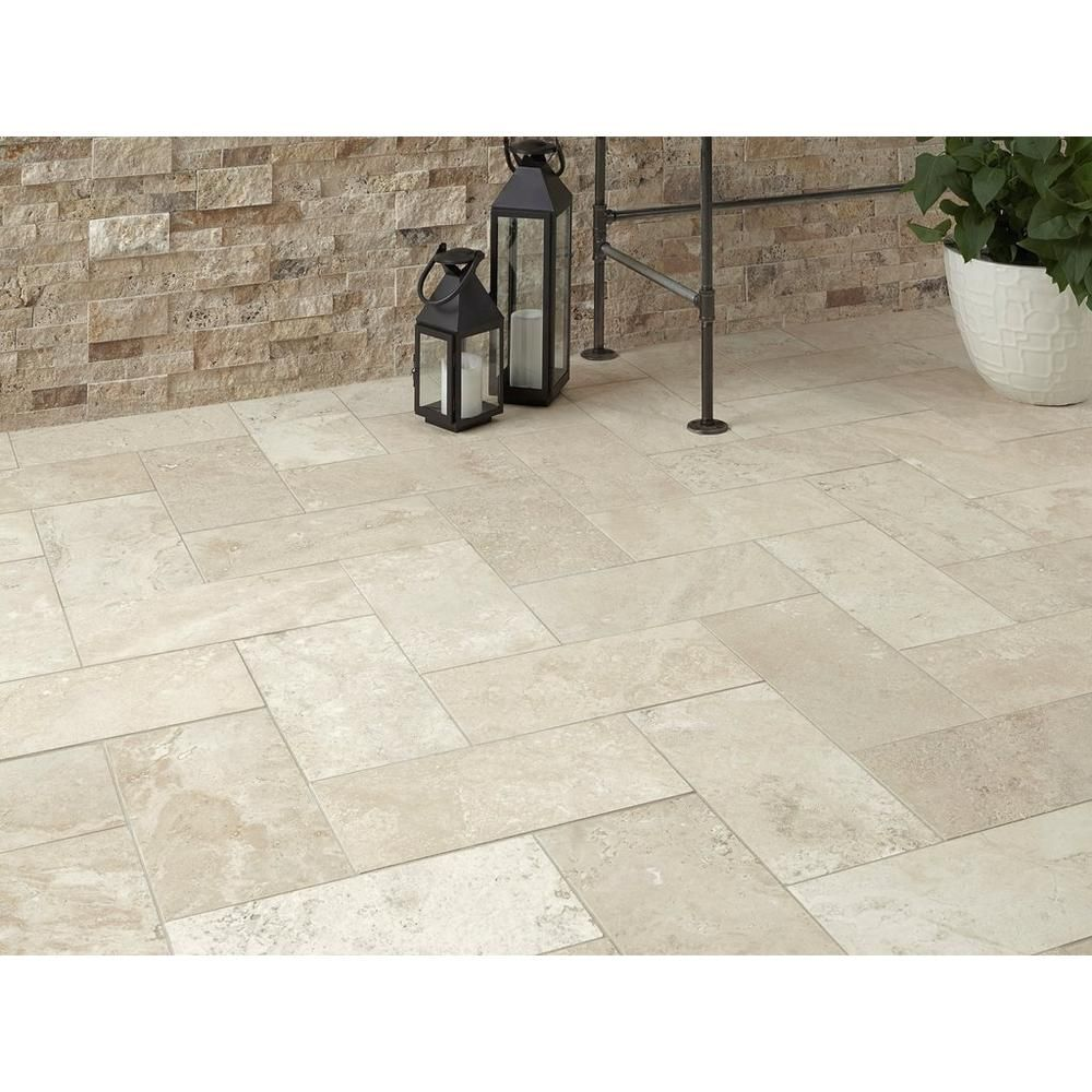 Savona Ivory Brushed Travertine Tile 8in X 16in 922101279 Floor And Decor