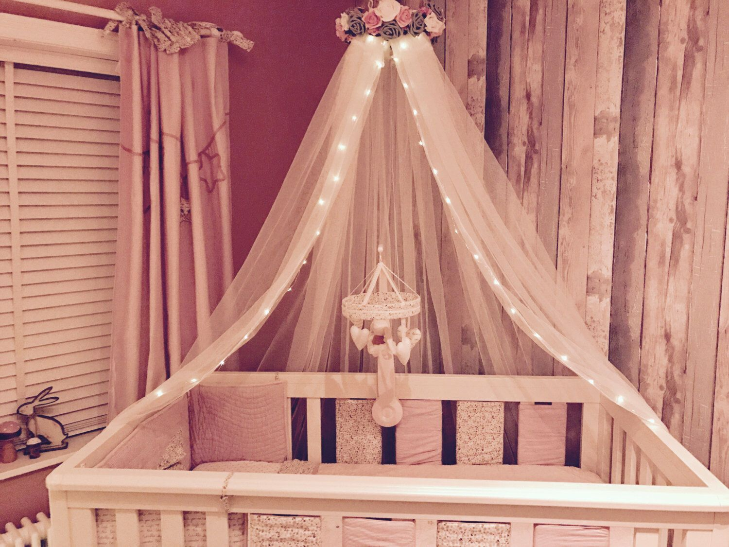 Bespoke bed canopy nursery cot canopy girls princess bedroom reading nook Pink Grey and White & Bespoke bed canopy nursery cot canopy girls princess bedroom ...