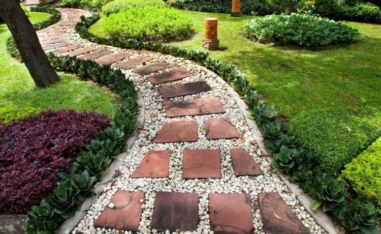 Gartenwege anlegen mit Stein und Kies Gartenwege Pinterest - gartenwege anlegen kies