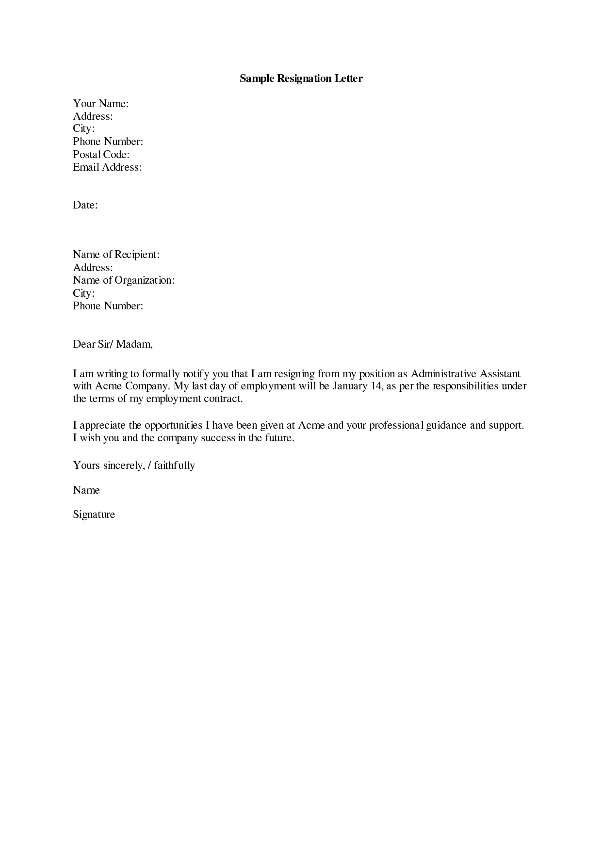 resignation letter sample 19 letter of resignation