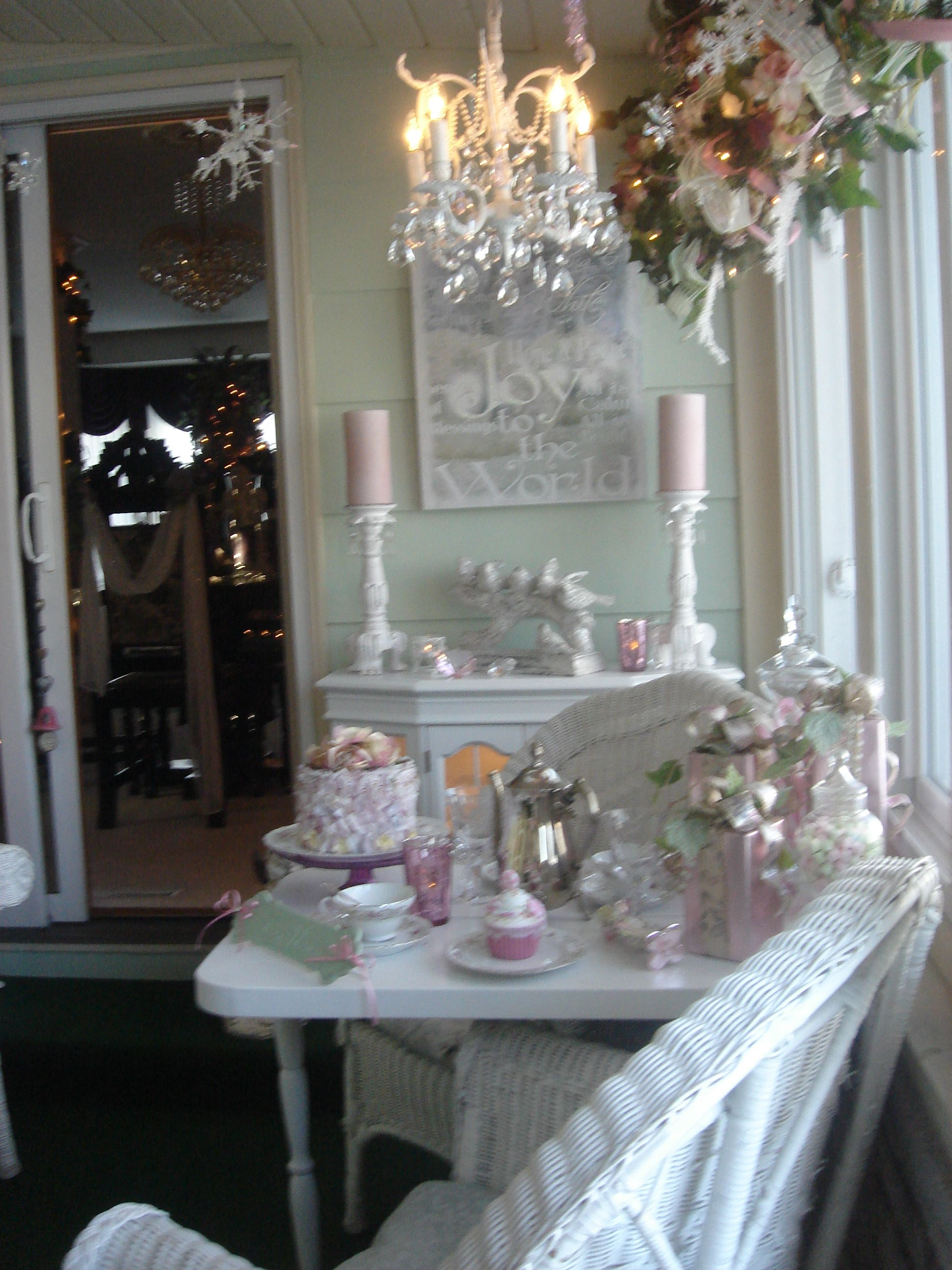 Shabby Chic Tea Time Sunroom Decorated For Christmas