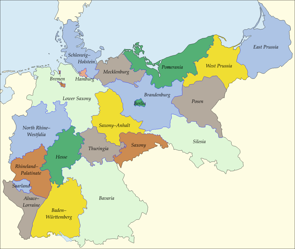 what germanys states might look like if it had kept its borders from pre ww1