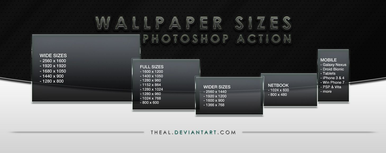 Wallpaper Sizes Photoshop Action By Theal On Deviantart Wallpaper Size Photoshop Actions Photoshop