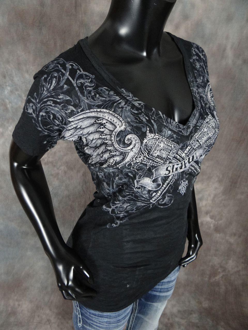 Details Womens Affliction Sinful T Shirt Winged Guns
