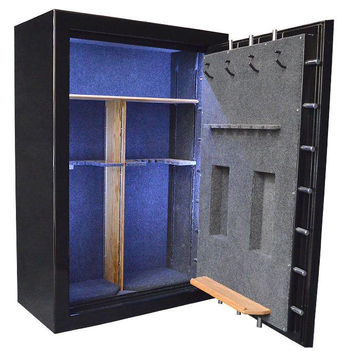 Custom Gun Safe Interior With LED Lighting, Oak Shelving, Gun Racks And  Long Gun Rack On Door Back.