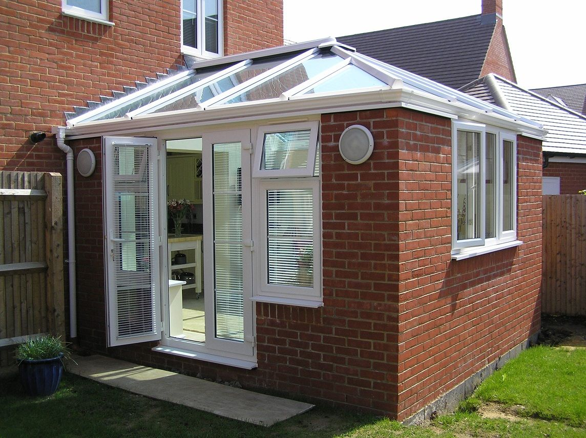 Interior Design, Attractive Conservatory Design Ideas Home Extension  Outside View With White Framed And Exposed Brick Wall Designs: Picking Up  The Best ...