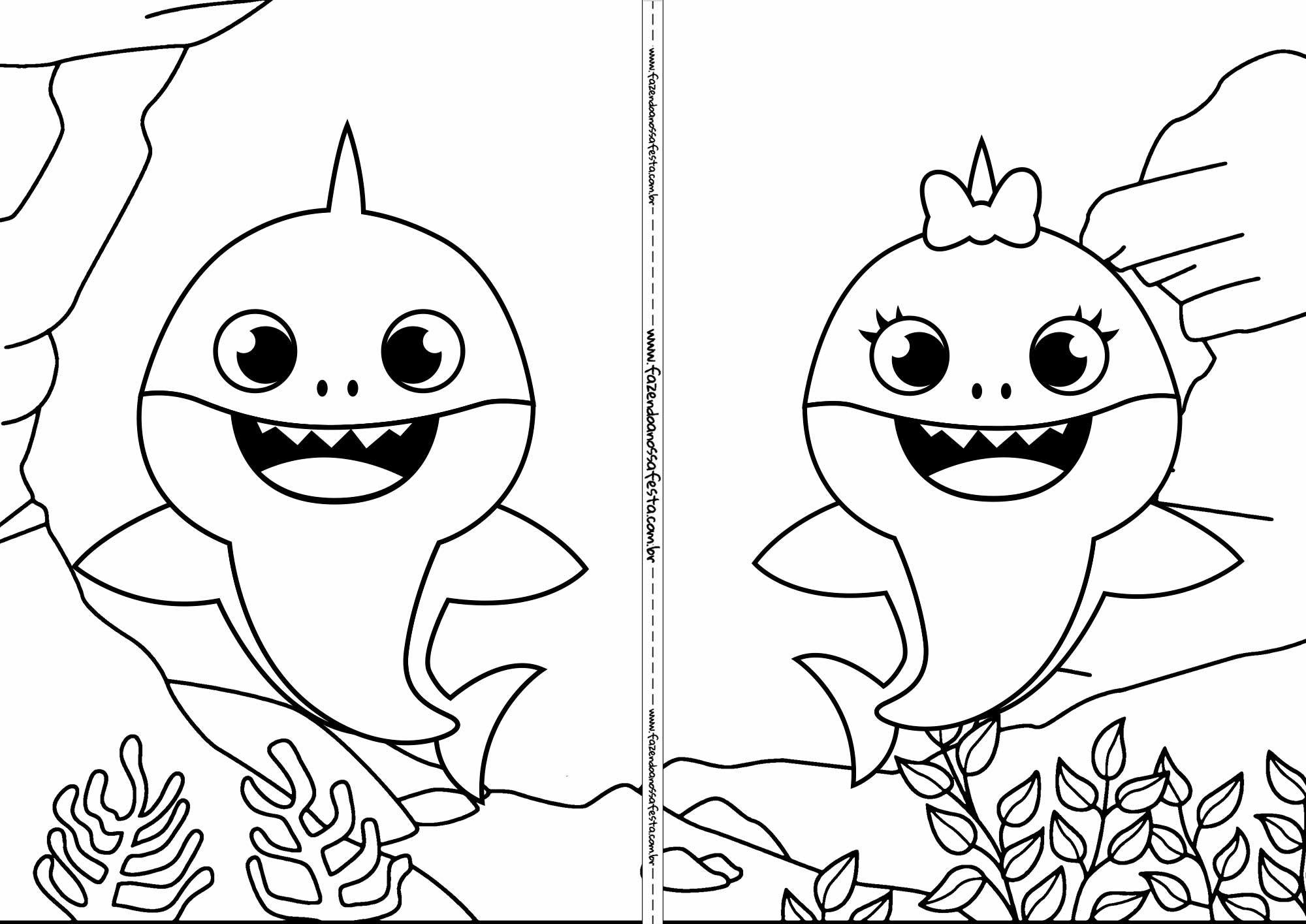 Livrinho para colorir Baby Shark 4 (com imagens) | Colorir ...