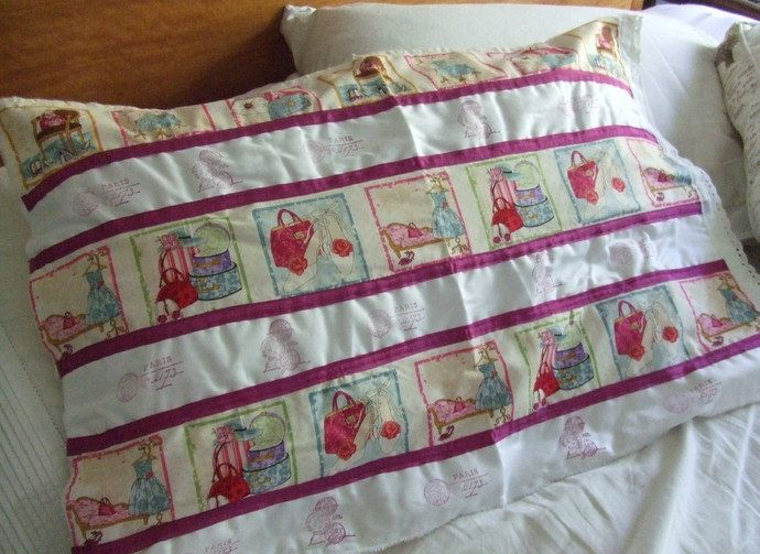 Shabby chic Pillow Case - Pillow Cover - handbag fabric- seam binding - fabric trim - french stamps  - Home furnishings by dkshopgirl, $15.00 USD