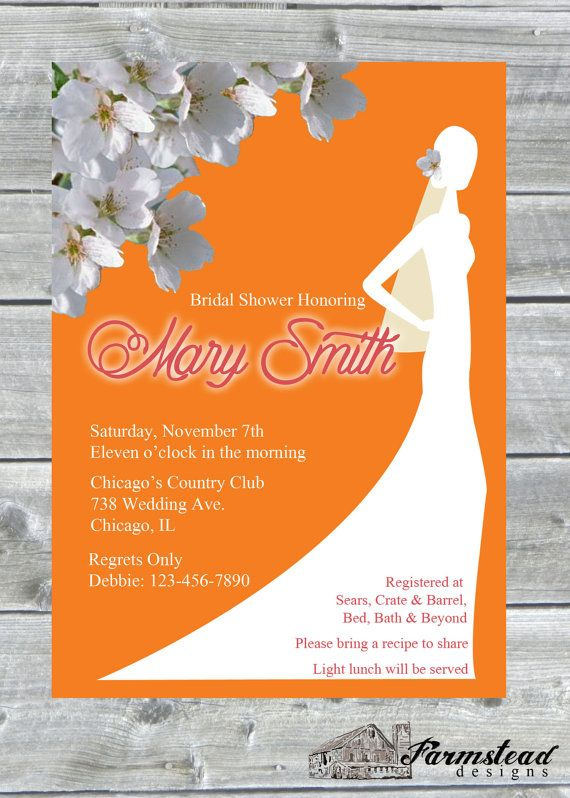 Bridal Shower Invite Wedding Dress Shower by FarmsteadDesigns