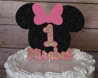 Minnie Mouse Cup Cake Toppers Pink And Gold Minnie by KbPaperCo