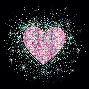 """Show some love this Valentine's Day with heart rhinestone transfers and love rhinestone transfers. All you need is a #heatpress. Pink Fabric Heart Burst - 12""""x12"""" - 15701 TheWildSide.com"""