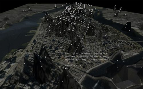 Invisible Cities maps information from one realm—online social networks—to another: an immersive, three dimensionalspace.