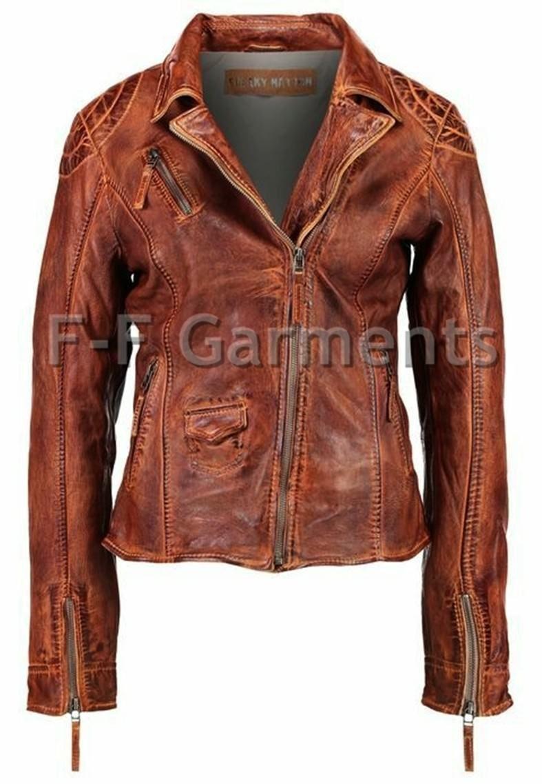Women S Antique Brown Cafe Racer Vintage Biker Leather Jacket Ebay Leather Jackets Women Distressed Leather Jacket Stylish Leather Jacket [ 1137 x 787 Pixel ]