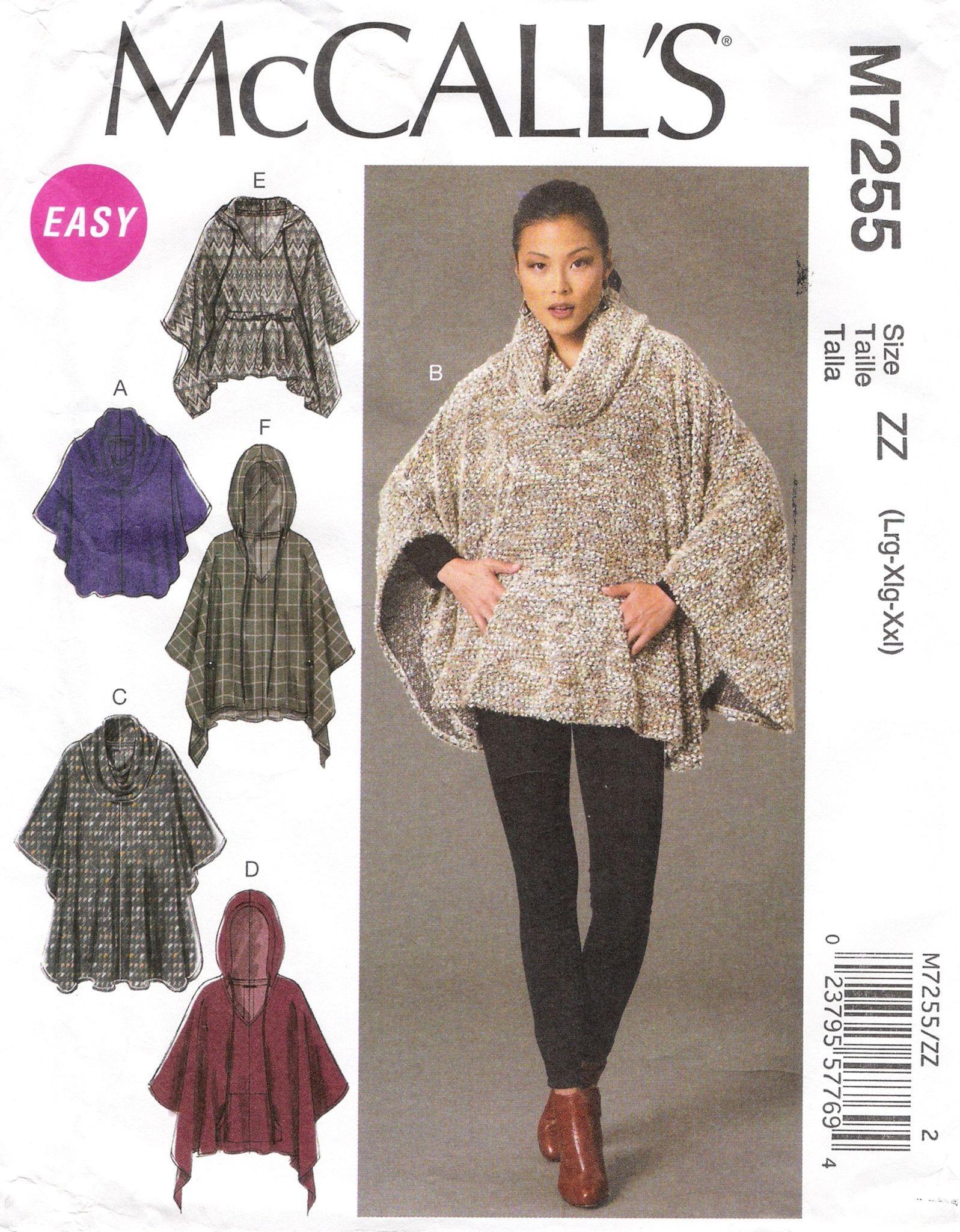 McCalls Ladies Easy Sewing Pattern 6209 Ponchos /& Belt McCalls-6209-M