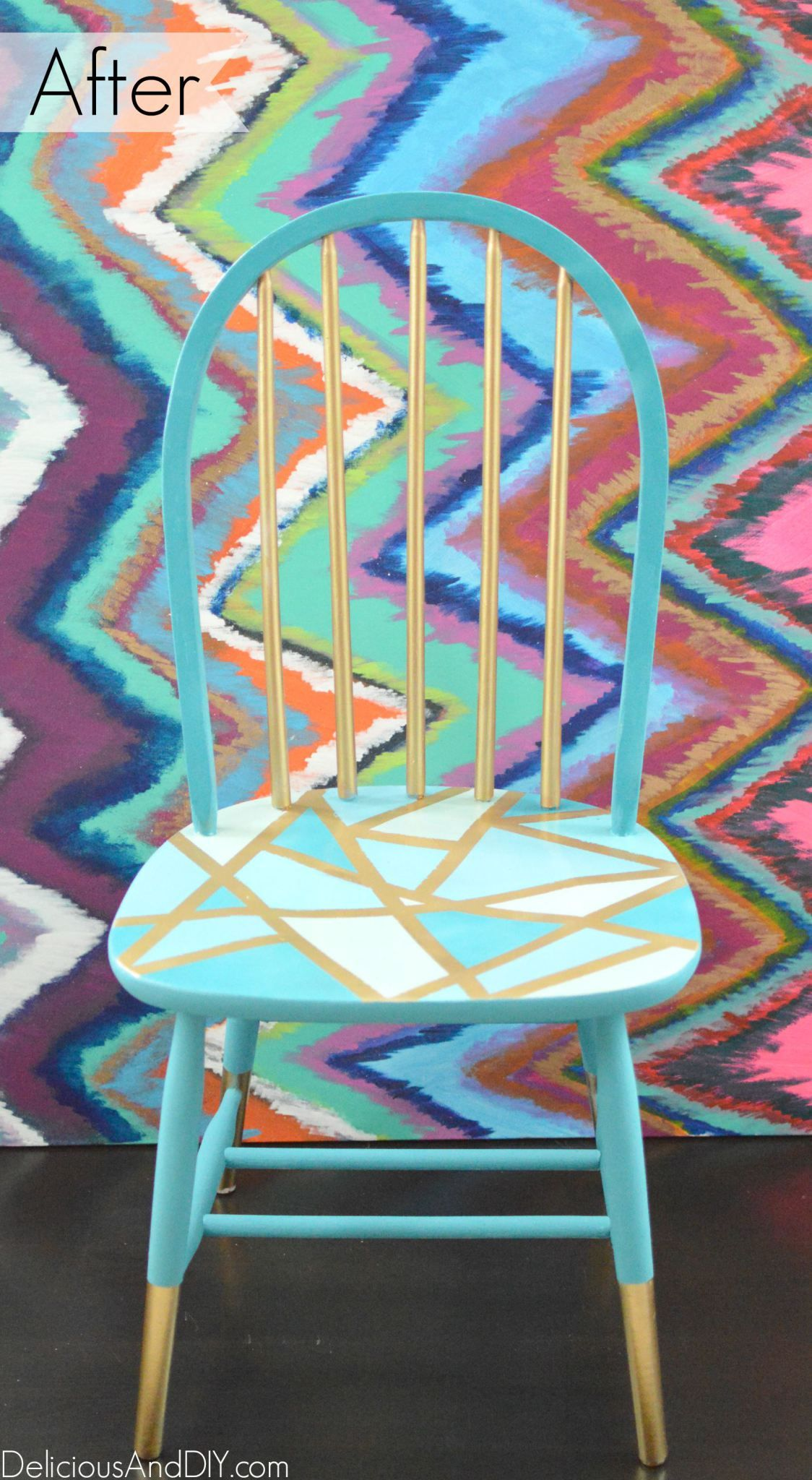 Wooden Chair Makeover Using Only Masking Tape Delicious And Diy Wooden Chair Makeover Wood Chair Makeover Painted Wooden Chairs
