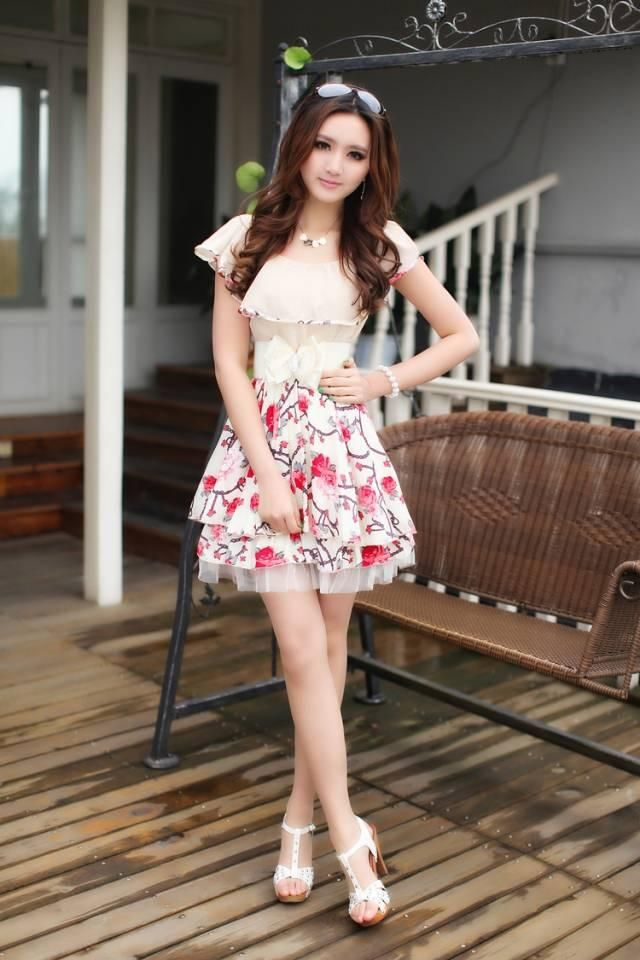 ffce0dbdce Beige Short Sleeves Cute Korean Trendy Chiffon Frilled Dress with Floral  Print 1