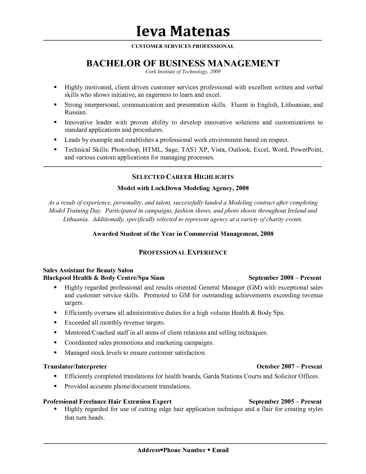 Business Owner Resume Sample Excellent Receptionist Resume  Document Sample  Resume Design